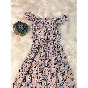 Long, light pink, and floral dress